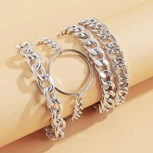 Silver Chunky Bracelets Classy